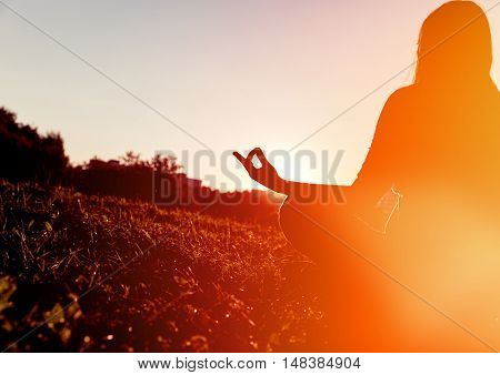 serenity and yoga practice in sunset nature