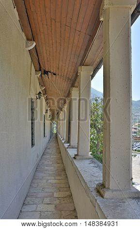 An historic covered walkway in Kotor old town.