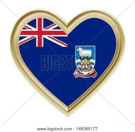 Falkland Islands flag in golden heart isolated on white background. 3D illustration.