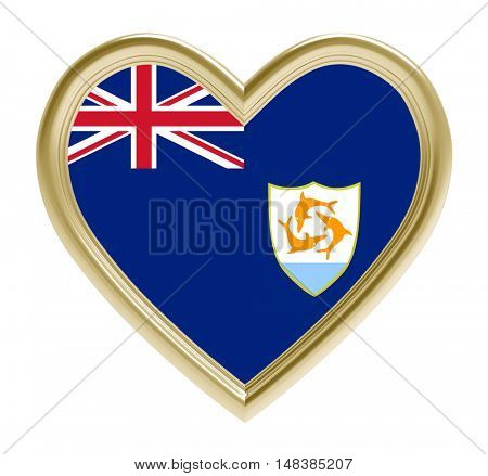 Anguilla flag in golden heart isolated on white background. 3D illustration.