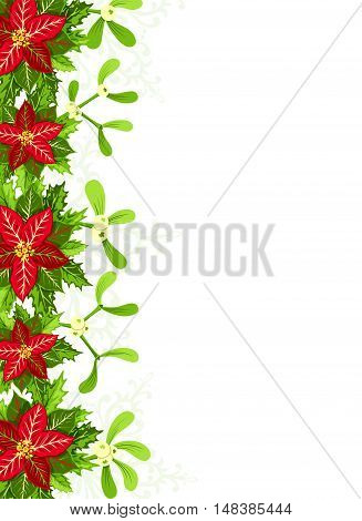Christmas background with red poinsettia mistletoe and holly leaves decoration elements. Vertical banner with border and copy space for your text or design