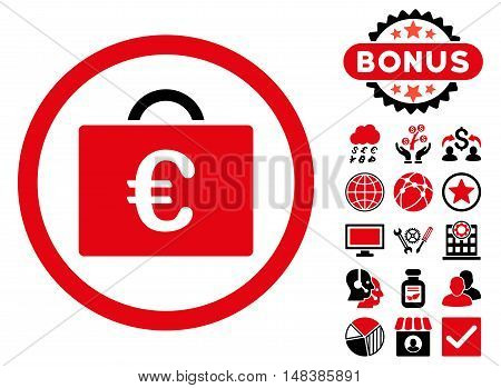 Euro Bookkeeping Case icon with bonus pictogram. Vector illustration style is flat iconic bicolor symbols, intensive red and black colors, white background.