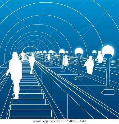 Metro escalator, people travel down the stairs, city scene, white lines on blue background, vector design art