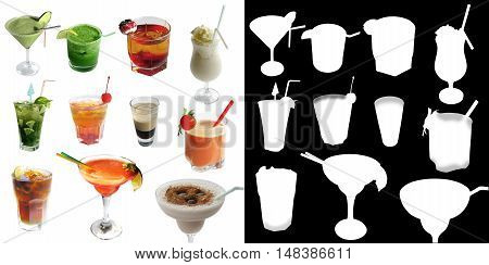 Set alcoholic and nonalcoholic cocktails with alpha channel