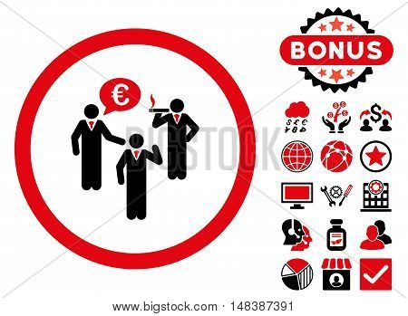Euro Discuss Persons icon with bonus symbols. Vector illustration style is flat iconic bicolor symbols, intensive red and black colors, white background.