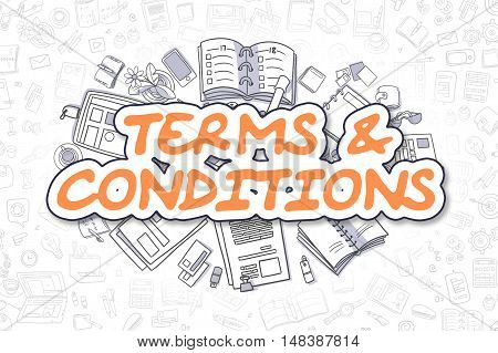 Terms And Conditions - Sketch Business Illustration. Orange Hand Drawn Word Terms And Conditions Surrounded by Stationery. Doodle Design Elements.