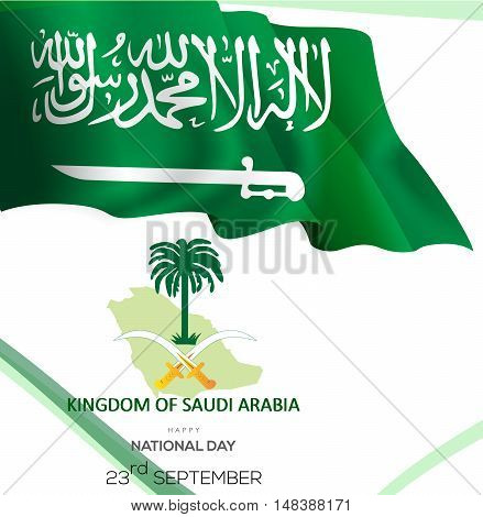 Celebrating Saudi Arabia Independence Day. Abstract waving flag on white background