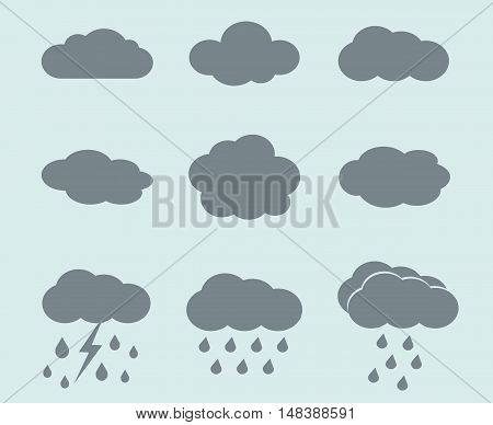 Vector weather icons set. Clouds and rain signs. Collection of signs for weather forecast illustration
