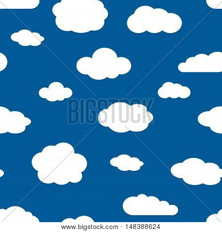 Blue sky and white clouds seamless pattern. Background of cloudy weather. Vector illustration