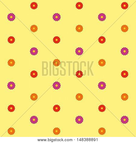 Simple seamless background with flower blooms. Tileable texture.