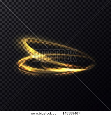 Glowing flying in rings particle with trail or tail. Luminous lines with swirl effect on transparent background.