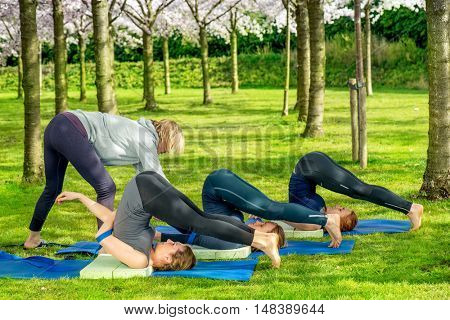Yoga teacher helping students with halasana, plow pose, in a spring park. Halasana is effective in back pain.