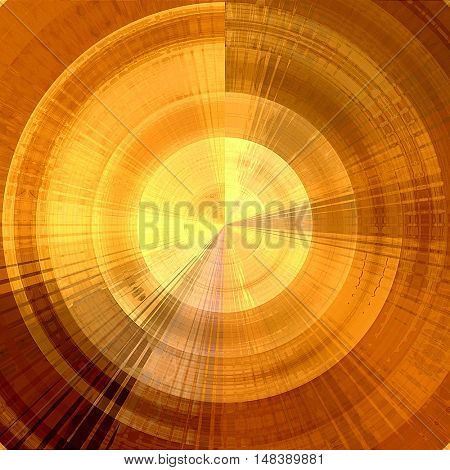 art abstract graphic spherical grunge monochrome background in orange and gold colors; geometric pattern