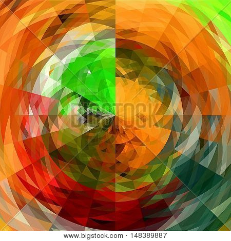 art abstract graphic spherical grunge colored background in red, green, blue and orange colors; geometric pattern