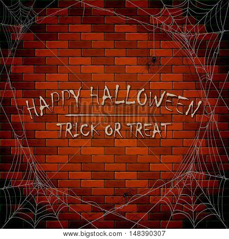 Inscriptions Happy Halloween and trick or treat on brick wall background with cobwebs and black spiders, illustration.