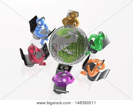 Mans with headphones and globe white background 3D illustration.