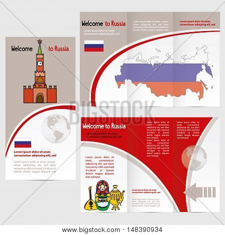 Traveler's guide or banner with a map Kremlin russian symbols and text. vector
