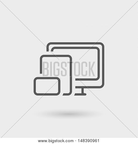 responsive design icon isolated. gray color with shadow