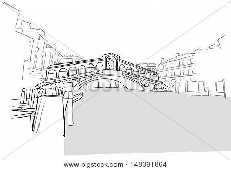 Venice Greeting Card Rialto Bridge Drawing