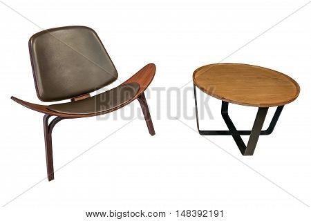 Isolated Luxury Style Chair Together With Wooden Round Side Table On White Background With Clipping