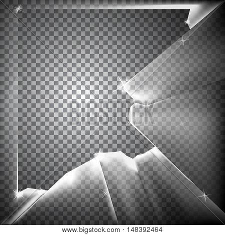 Vector illustration of a transparent broken glass.