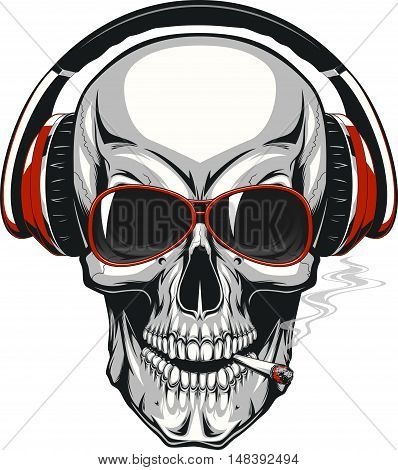 Vector illustration human skull listening to music on headphones
