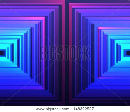 Vector bright luminescent background with squares rhombus and lines.