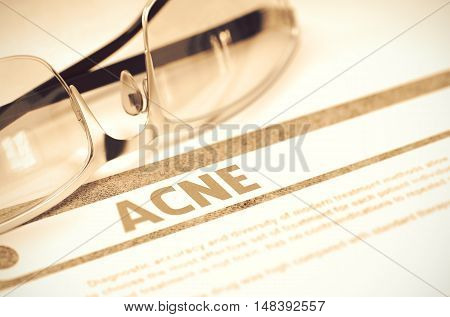 Diagnosis - Acne. Medicine Concept with Blurred Text and Specs on Red Background. Selective Focus. Acne - Medicine Concept on Red Background with Blurred Text and Composition of Specs. 3D Rendering.