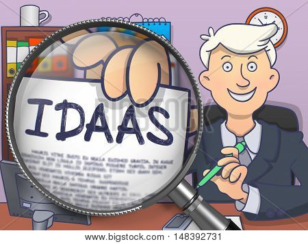 Man in Suit Holds Out a Concept on Paper IDAAS Concept through Magnifying Glass. Closeup View. Colored Modern Line Illustration in Doodle Style.