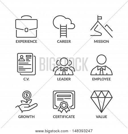 professional success icons set thin line black color