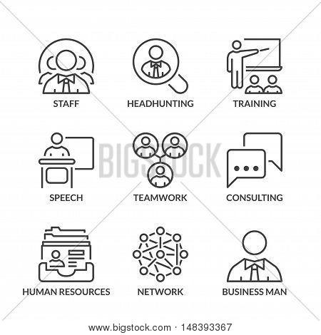 business teamwork icons set thin line black color