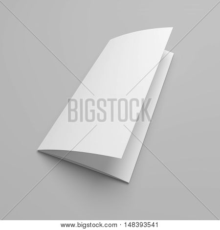 Blank 3D illustration tri-fold brochure mock-up on gray. View on cover.