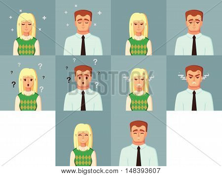Funny Cartoon Character. Office Worker Calm Sad happy Angry confused. Vector illustration