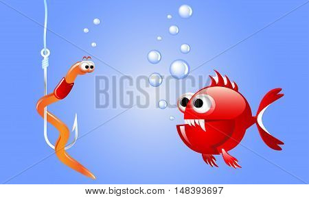 Cartoon evil red fish looking at a worm on a fishing hook underwater with bubbles. Illustrations for printed materials and backgrounds.