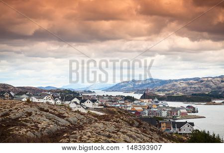 Houses Under Colorful Cloudy Sky, Norway