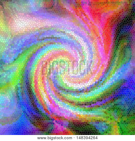 Abstract coloring background of the tropical colours gradient with visual wave,twirl and stained glass effects.Good for your project design