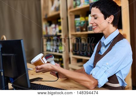 Cashier at work
