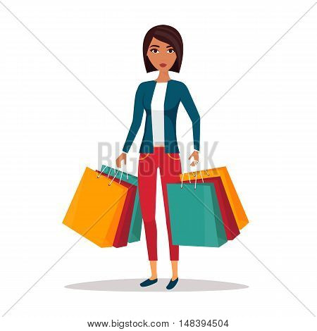 Woman with shopping bags. Shop sale vector illustration.