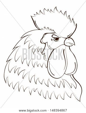 Rooster head. Chinese calendar. Year of rooster 2017. Cock Symbol of New Year 2017. Сute vector illustration. Cock bird farm