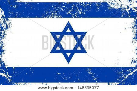 Israel flag in grunge style. Distressed texture