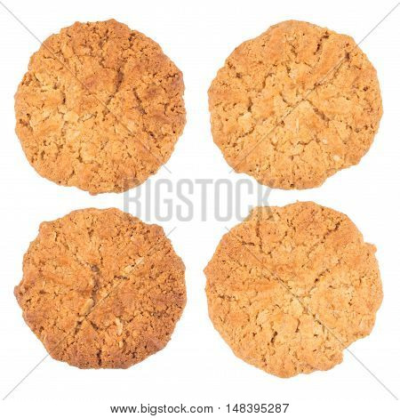 Cookies on a white background. Top view.