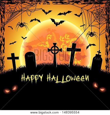Spooky card for happy Halloween. Orange background with full moon, tombstones, spider and bats. Vector Illustration.