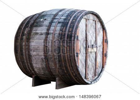 a large wooden barrel on a white background
