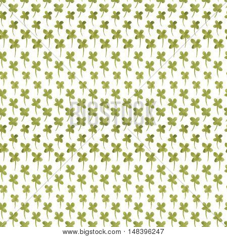 Watercolor summer clover leaf pattern. Vector trace vintage nature seamless background for Saint Patricks Day.