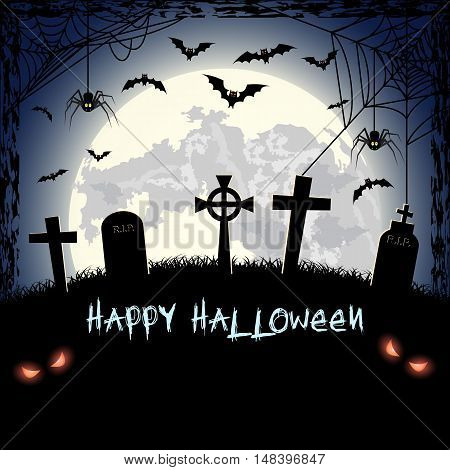 Spooky card for happy Halloween. blue background with full moon, tombstones, spider and bats. Vector Illustration.