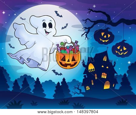 Halloween ghost near haunted house 3 - eps10 vector illustration.