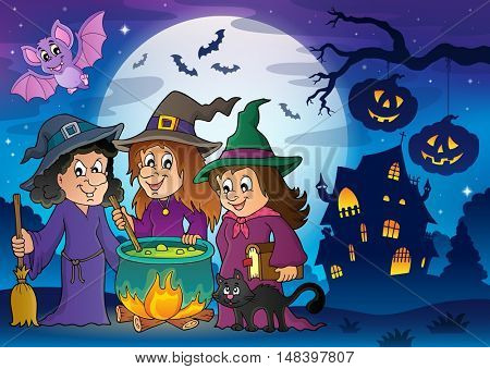 Three witches theme image 8 - eps10 vector illustration.