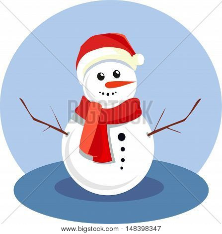funny snowman in a red cap with a pompon