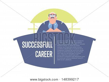 Successful career banner with big boss in business suit and tie sitting at table, isolated vector illustration on white background. Concept of walking to success. Career development poster template