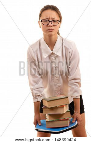 Korean girl student holding textbooks in hands
